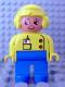 Minifig No: 4555pb107  Name: Duplo Figure, Female, Blue Legs, Yellow Top with Radio in Pocket, Yellow Aviator Helmet, Eyelashes
