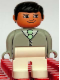 Minifig No: 4555pb108  Name: Duplo Figure, Male, White Legs, Light Gray Top with White Shirt and Light Green Tie, Black Hair