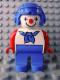 Minifig No: 4555pb110  Name: Duplo Figure, Male Clown, Blue Legs, Blue Aviator Helmet, Blue Neckerchief