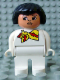 Minifig No: 4555pb112  Name: Duplo Figure, Female, White Legs, White Top and with Yellow and Red Scarf, Black Hair