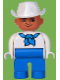 Minifig No: 4555pb113  Name: Duplo Figure, Male, Blue Legs, White Top with Blue Bandana, White Cowboy Hat