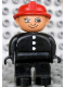 Minifig No: 4555pb114  Name: Duplo Figure, Male Fireman, Black Legs, Black Top with 3 White Buttons, Red Fire Helmet