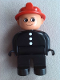 Minifig No: 4555pb114a  Name: Duplo Figure, Male Fireman, Black Legs, Black Top with 3 White Buttons, Red Fire Helmet, Round Eyes
