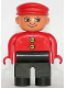Minifig No: 4555pb117  Name: Duplo Figure, Male, Black Legs, Red Top with 2 Yellow Buttons, Red Cap