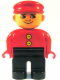 Minifig No: 4555pb117a  Name: Duplo Figure, Male, Black Legs, Red Top with 2 Yellow Buttons, Red Cap, no White in Eyes Pattern