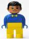 Minifig No: 4555pb120  Name: Duplo Figure, Male, Yellow Legs, Blue Top with Light Green Bow Tie, Black Hair, Asian Eyes