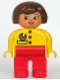 Minifig No: 4555pb121  Name: Duplo Figure, Female, Red Legs, Yellow Top with Red Buttons & Wrench in Pocket, Brown Hair, Turned Down Nose