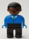 Minifig No: 4555pb122  Name: Duplo Figure, Male, Black Legs, Blue Top with Buttons and Tie, Black Curly Hair, Brown Head