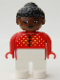 Minifig No: 4555pb123  Name: Duplo Figure, Female, White Legs, Red Sweater with Yellow V Stitching and Buttons, Black Curly Hair in Bun, Brown Head