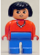 Minifig No: 4555pb124  Name: Duplo Figure, Female, Blue Legs, Red Top with Necklace, Black Hair