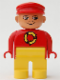 Minifig No: 4555pb125  Name: Duplo Figure, Male, Yellow Legs, Red Top with Recycle Logo, Red Cap, turned down Nose