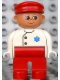 Minifig No: 4555pb129  Name: Duplo Figure, Male Medic, Red Legs, White Top with EMT Star of Life Pattern, Red Cap