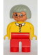 Minifig No: 4555pb132  Name: Duplo Figure, Female, Red Legs, Yellow Blouse with White Collar and 2 Buttons, Gray Hair, Glasses