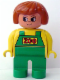 Minifig No: 4555pb133  Name: Duplo Figure, Female Zoo, Green Legs, Yellow Top with Green Overalls, Dark Orange Hair (Zoo Keeper)