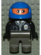 Minifig No: 4555pb135  Name: Duplo Figure, Male Police, Dark Gray Legs, Black Top with Zipper, Tie and Badge, Blue Racing Helmet