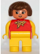 Minifig No: 4555pb142  Name: Duplo Figure, Female, Yellow Legs, Red Top With Yellow Polka Dot Scarf, Yellow Arms, Brown Hair, with Nose, with White in Eyes Pattern