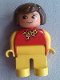 Minifig No: 4555pb142a  Name: Duplo Figure, Female, Yellow Legs, Red Top With Yellow Polka Dot Scarf, Yellow Arms, Brown Hair, no Nose, no White in Eyes Pattern