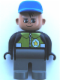 Minifig No: 4555pb143  Name: Duplo Figure, Male Police, Dark Gray Legs, Black Top with Pale Green Vest and Police Badge, Blue Cap