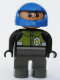 Minifig No: 4555pb144  Name: Duplo Figure, Male Police, Dark Gray Legs, Black Top with Pale Green Vest and Police Badge, Blue Helmet