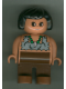 Minifig No: 4555pb145  Name: Duplo Figure, Female, Brown Legs, Tooth Necklace Pattern, Black Hair (Caveman)