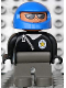Minifig No: 4555pb148  Name: Duplo Figure, Male Police, Dark Gray Legs, Black Top Zippered Jacket and Police Badge, Blue Helmet