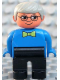 Minifig No: 4555pb149  Name: Duplo Figure, Male, Black Legs, Blue Top with Green Bow Tie, Gray Hair, Glasses