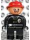 Minifig No: 4555pb151  Name: Duplo Figure, Male Fireman, Black Legs, Black Top with Flame Logo, Red Fire Helmet, Moustache