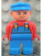 Minifig No: 4555pb155  Name: Duplo Figure, Male, Blue Legs, Red Top with Blue Overalls, Blue Cap, Turned Down Nose