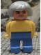 Minifig No: 4555pb158  Name: Duplo Figure, Female, Blue Legs, Yellow Blouse, Gray Hair