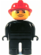 Minifig No: 4555pb162a  Name: Duplo Figure, Male Fireman, Black Legs, Black Top (no buttons), Red Fire Helmet, no White in Eyes Pattern