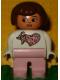 Minifig No: 4555pb163  Name: Duplo Figure, Female, Pink Legs, White Top with Pink Scarf with Hearts Pattern, Brown Hair
