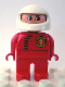 Minifig No: 4555pb167  Name: Duplo Figure, Male, Red Legs, Red Top with Black Zipper and Racer #1, White Helmet