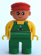 Minifig No: 4555pb168  Name: Duplo Figure, Male, Green Legs, Yellow Top with Green Overalls and Anchor, Red Cap