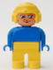 Minifig No: 4555pb169  Name: Duplo Figure, Male, Yellow Legs, Blue Top, Aviator Helmet Yellow
