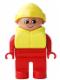 Minifig No: 4555pb170  Name: Duplo Figure, Male, Red Legs, Red Top, Life Jacket, Yellow Rain Hat