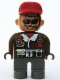 Minifig No: 4555pb173  Name: Duplo Figure, Male Action Wheeler, Dark Gray Legs, Brown Top with Fleece Jacket, Black Belt, Red Cap, Sunglasses, Headphone (AW Aviator)
