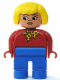 Minifig No: 4555pb174  Name: Duplo Figure, Female, Blue Legs, Red Top with Yellow and Red Polka Dot Scarf, Yellow Hair, Turned Down Nose