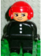 Minifig No: 4555pb176  Name: Duplo Figure, Male Fireman, Black Legs, Black Top with 3 White Buttons, Red Aviator Helmet