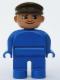 Minifig No: 4555pb180  Name: Duplo Figure, Male, Blue Legs, Blue Top, Brown Cap