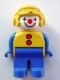 Minifig No: 4555pb183  Name: Duplo Figure, Male Clown, Blue Legs, Yellow Aviator Helmet