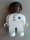 Minifig No: 4555pb184  Name: Duplo Figure, Male Medic, White Legs, White Top with EMT Star of Life Pattern, Black Hair, Brown Head, Glasses
