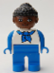 Minifig No: 4555pb186  Name: Duplo Figure, Female, Blue Legs, White Top with Blue Sleeves and Scarf, Black Curly Hair in Bun, Brown Head