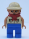 Minifig No: 4555pb189  Name: Duplo Figure, Female, Blue Legs, Tan Top with 2 Pockets, Tan Pith Helmet, Red Bandana, Eyelashes