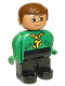 Minifig No: 4555pb190  Name: Duplo Figure, Male, Black Legs, Green Top with Yellow Scarf, Brown Hair