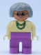 Minifig No: 4555pb191  Name: Duplo Figure, Female, Dark Pink Legs, Yellow Blouse with Green Necklace, Gray Hair