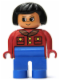 Minifig No: 4555pb192  Name: Duplo Figure, Female, Blue Legs, Red Jacket with Gold Buttons, Black Hair