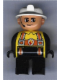 Minifig No: 4555pb194  Name: Duplo Figure, Male Fireman, Black Legs, Yellow Top with Flame and Orange Suspenders, White Fire Helmet, Headset