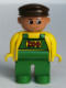 Minifig No: 4555pb195  Name: Duplo Figure, Male, Green Legs, Yellow Top with Green Overalls, Brown Cap (Zoo Keeper)