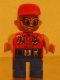 Minifig No: 4555pb196  Name: Duplo Figure, Male Action Wheeler, Blue Legs, Red Top with Wrench, Red Cap, Sunglasses, Beard