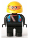 Minifig No: 4555pb201  Name: Duplo Figure, Male, Black Legs, Black Top with Blue Straps and Racer Diagonal Zipper, Yellow Racing Helmet